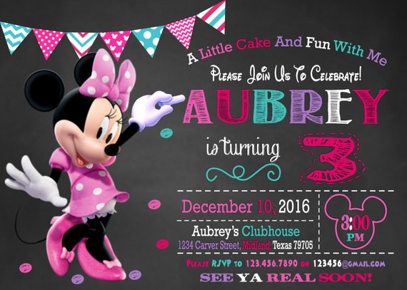 Minnie Mouse Invitation Party 3rd Birthday Free Thank You C