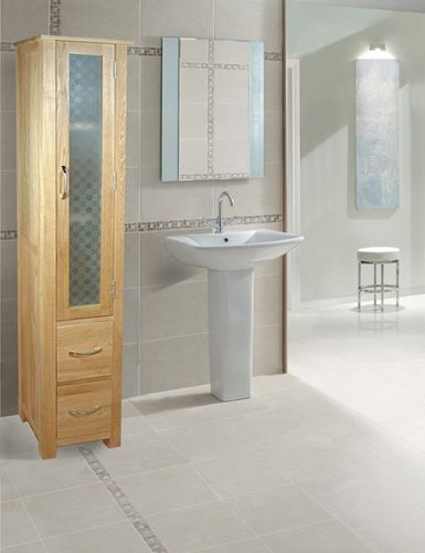 Mobel Oak Tall Closed Bathroom Unit Cor19a Superb Contemporary Design Made From Selected Solid This Slender