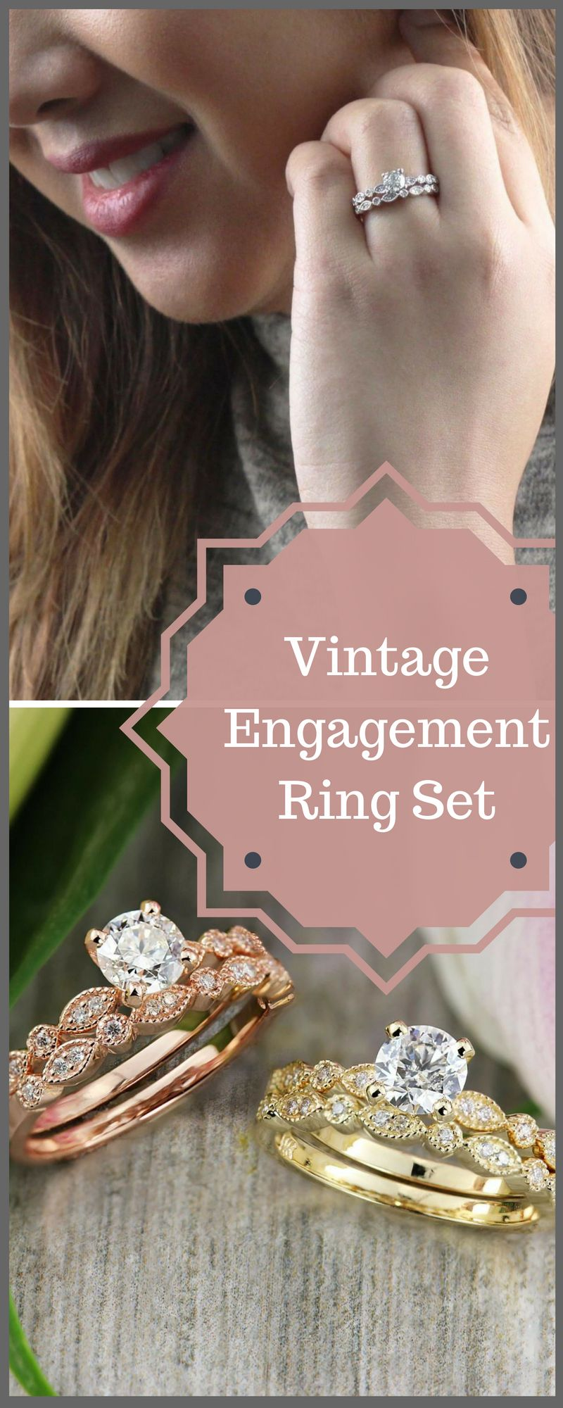 This vintage engagement ring comes in gold, yellow gold, and silver ...