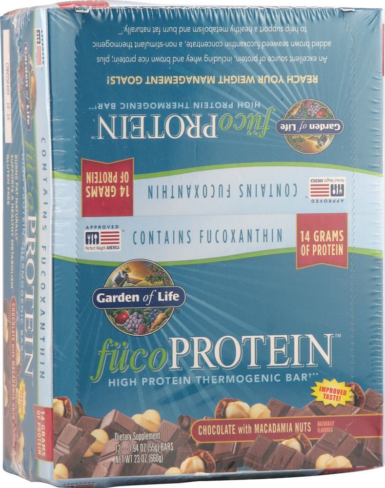 Garden Of Life Fucoprotein High Protein Thermogenic Bars Chocolate With Macadamia Nuts 12 Bars High Protein Thermogenic Protein
