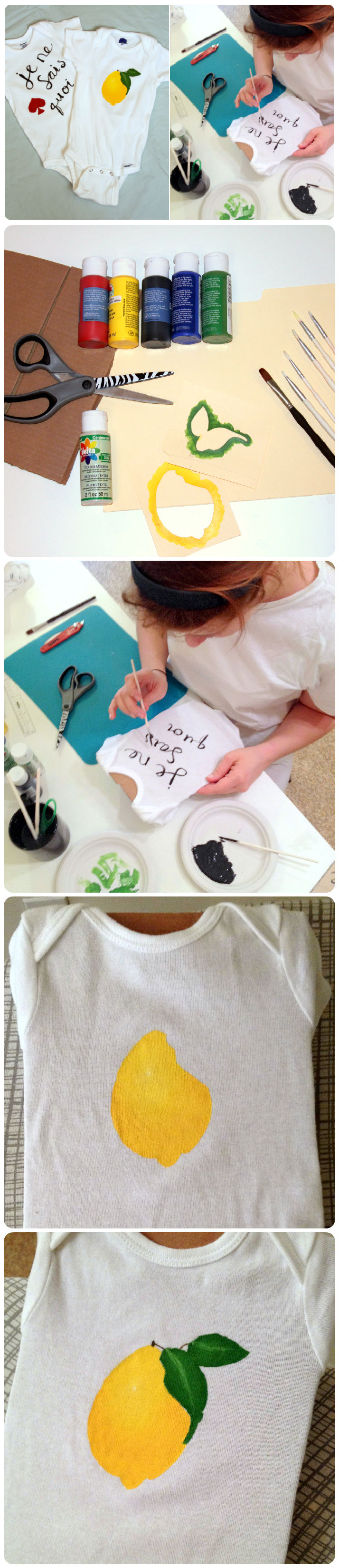 Hand-Painted Onesies! For a unique gift, or for baby shower activity, try painting your own custom baby clothes! It's easier than you might think. Mine were inspired by Kate Spade collections, but you can make whatever you want.