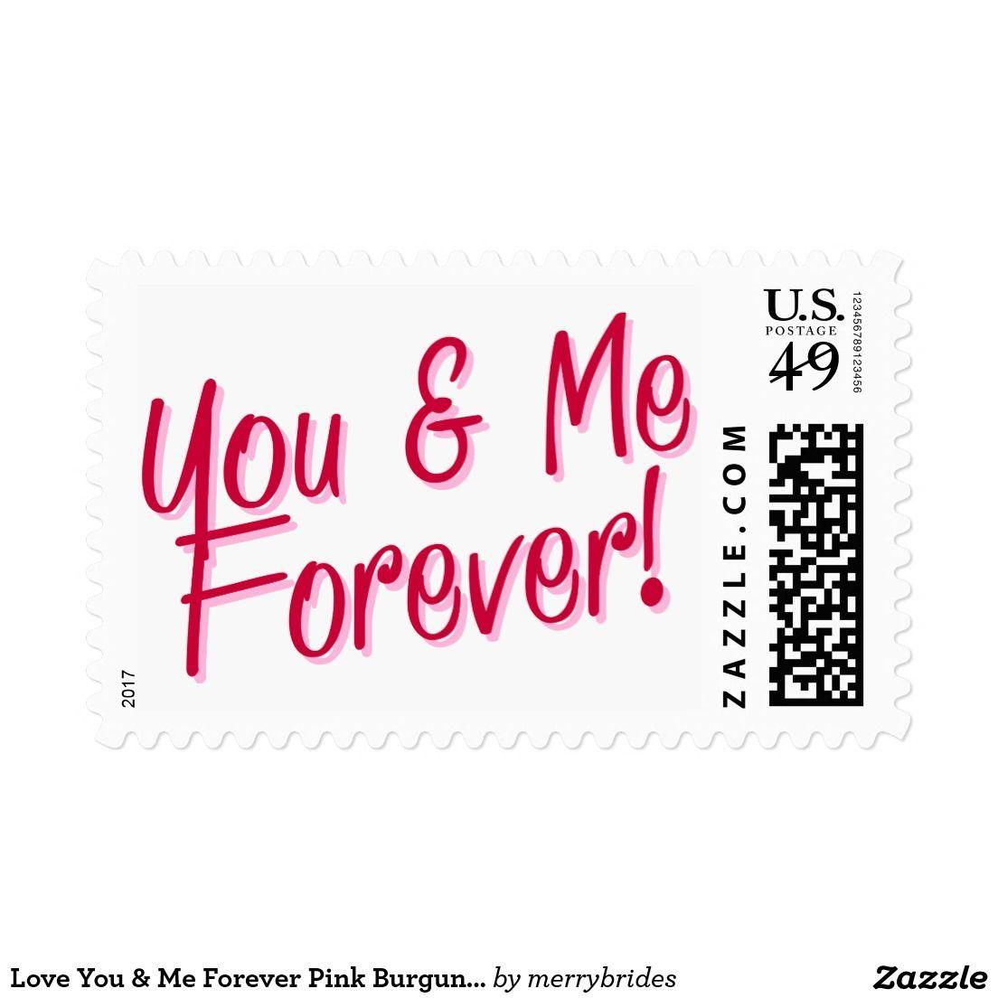 Love You & Me Forever Pink Burgundy Wedding Postage
