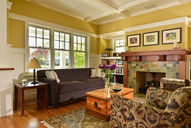 Craftsman Livingrooms Bright Yellow White Modern Craftsman Style Interiors Living Room With Craftsman Living Rooms Living Room Designs Family Room Design