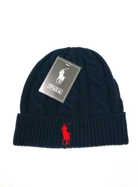 Men's / Women's Polo Ralph Lauren Big Pony Embroidered Cable Knit Ribbed Cuff Winter Beanie Hat - Navy / White