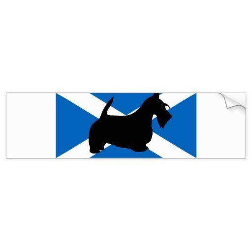 scottish terrier silhouette Scotland flag.png Bumper Sticker