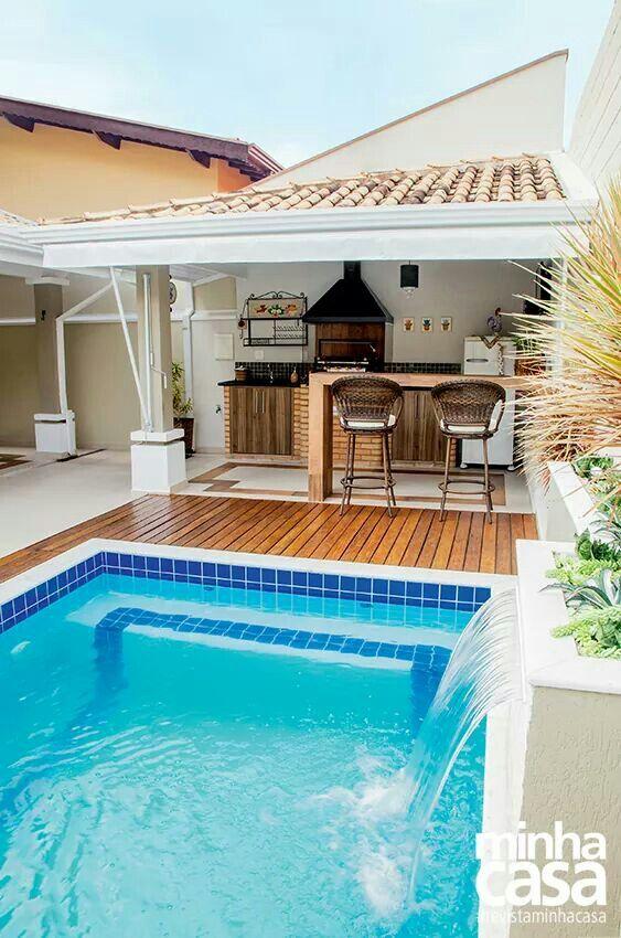 Varanda e piscina espa o gourmet pinterest patios for Modelos de albercas en casa