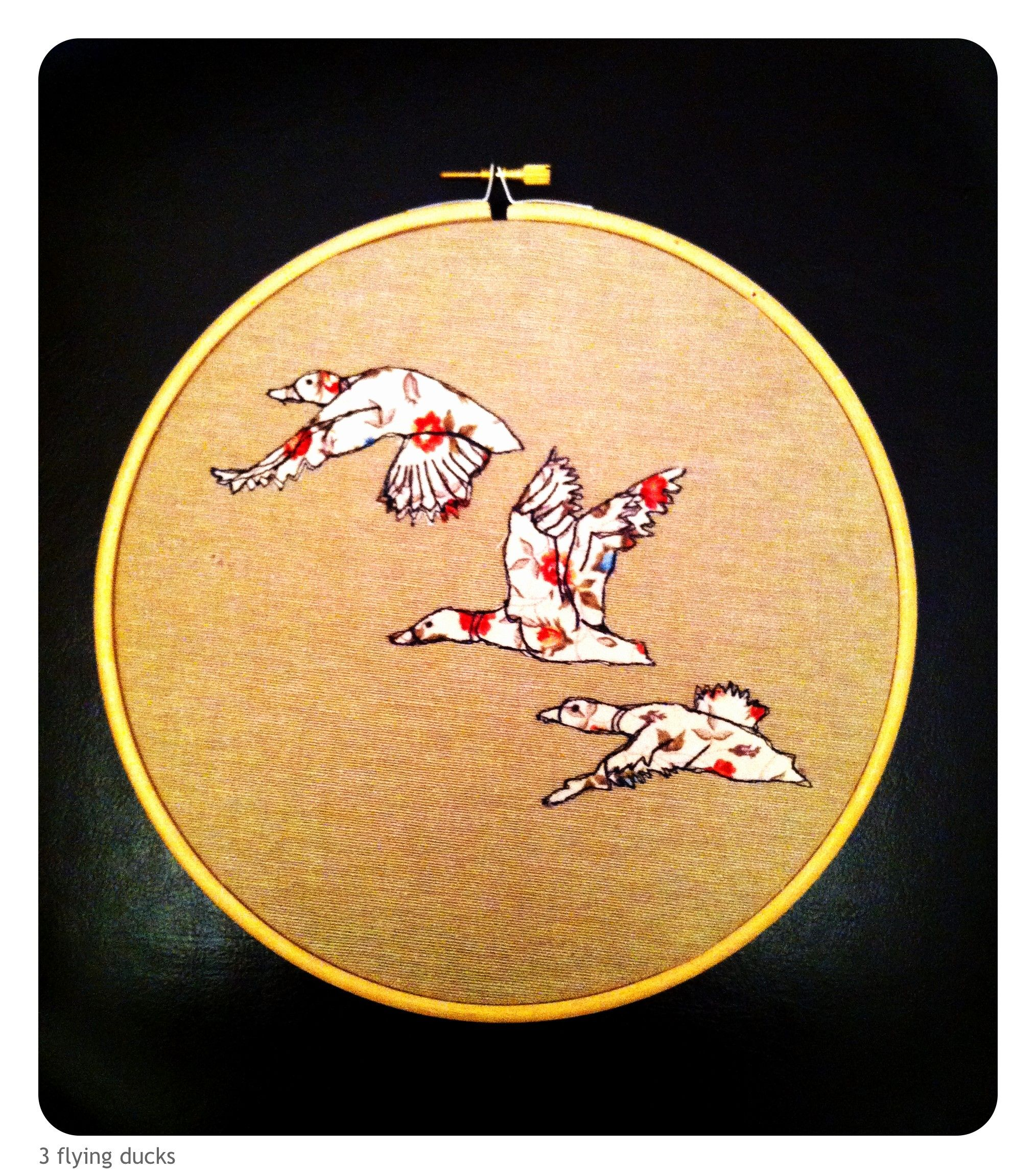 3 flying ducks, free hand machine embroidery and applique in ...