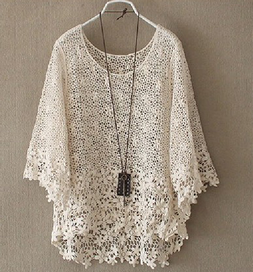 Fashion White Hollow Out Daisy Lace Smock Shirt Perfect To Throw Over A Bikini Or Bralette Crochet Clothes Fashion Lace
