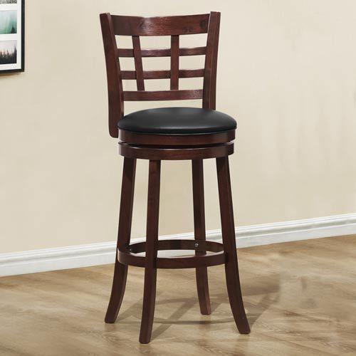 Window Back Espresso Swivel 29 Inch Counter Height Chair Homehills Bar Height 28 To 36 In Swivel Bar Stools Bar Stools Pub Chairs 29 inch bar stools