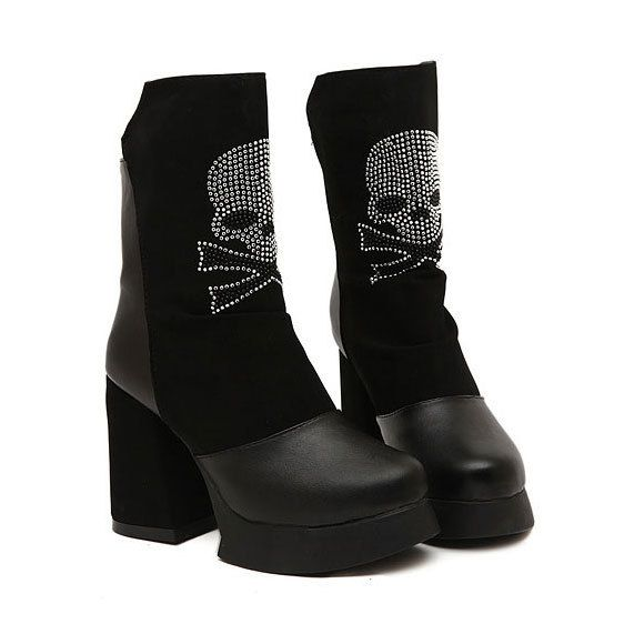 I discovered this Platform Women Fashion Street Block Skeleton Martin Mid-calf Boots on Keep. View it now.