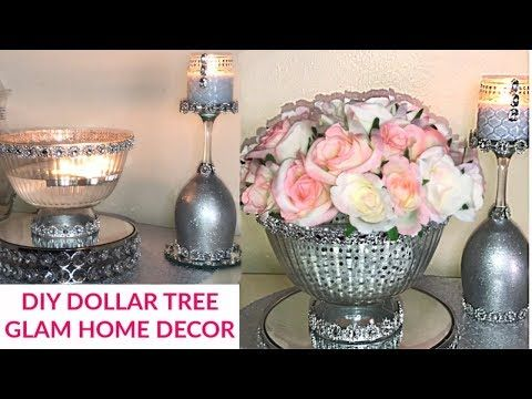 Dollar Tree DIY Glam Home Decor #dollartreehomedecor #homedecorideas #homedecordiy #dollartreediy - YouTube