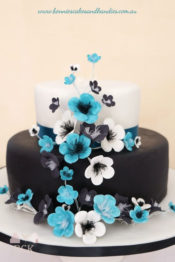 blue and Black Black white blue icing or flower paste blossoms