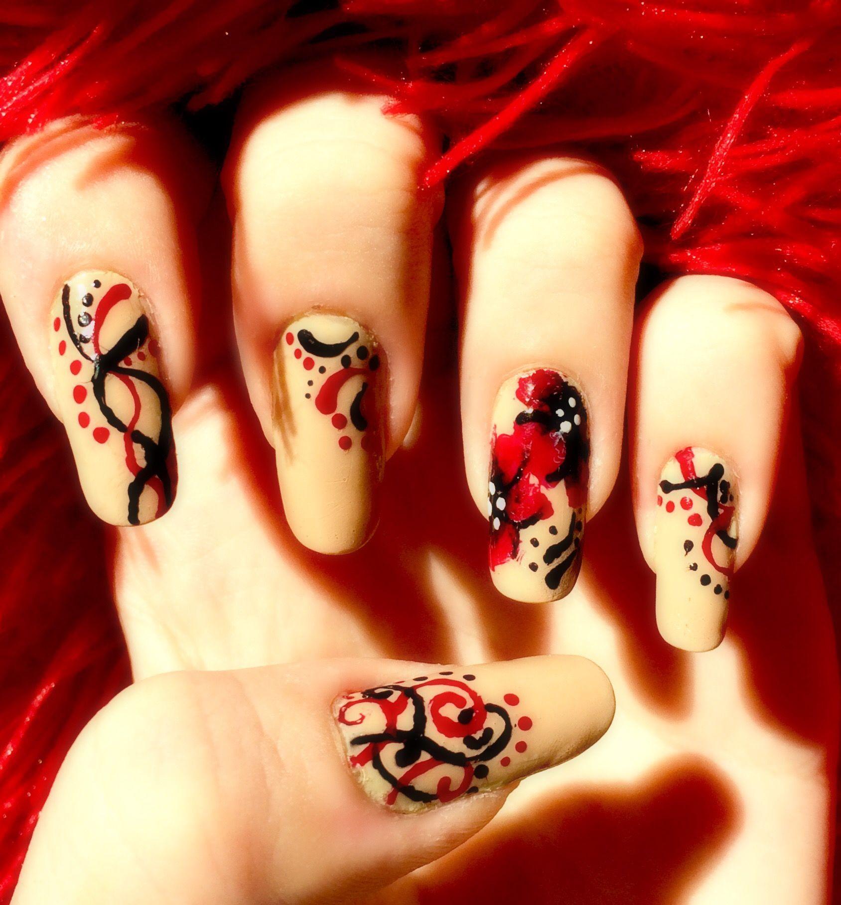 Long Red Black Flowers Paternal Elegant Nail Art My Nail Art