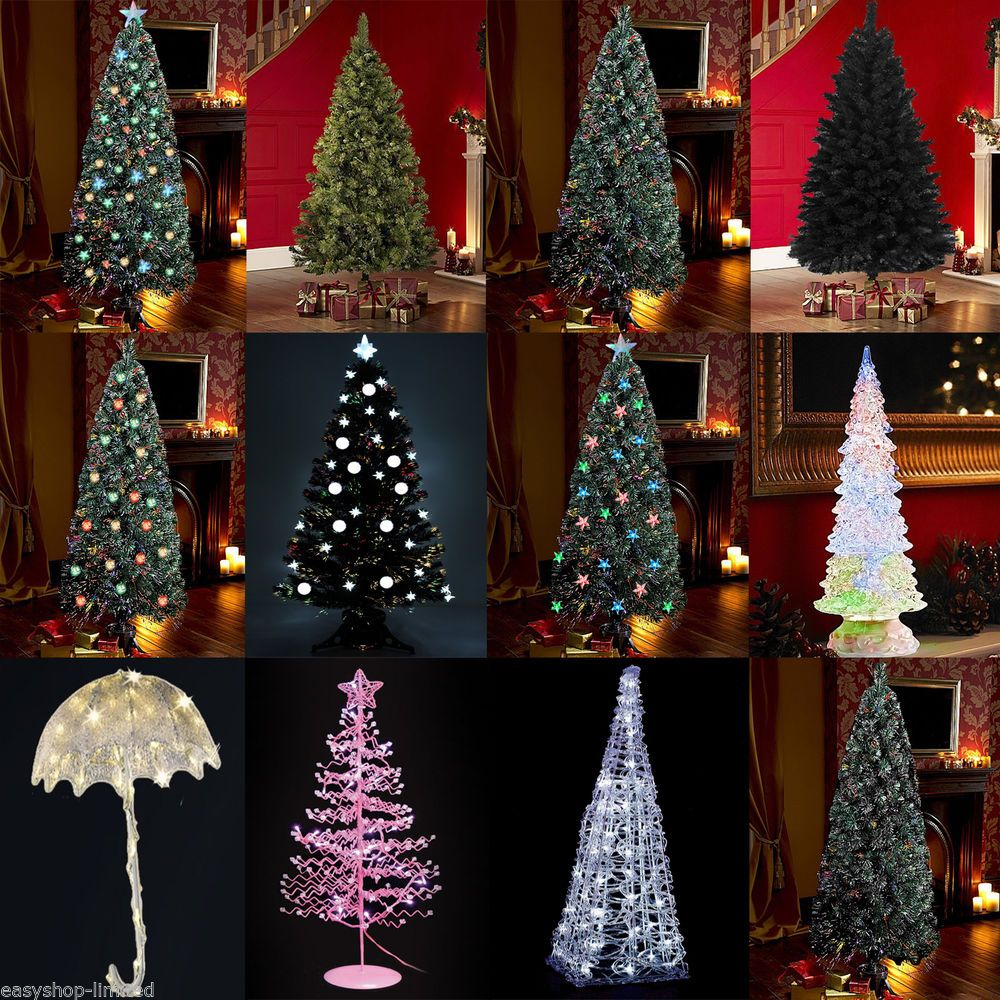 4ft 5ft 6ft 7ft black white green led fibre optic christmas tree