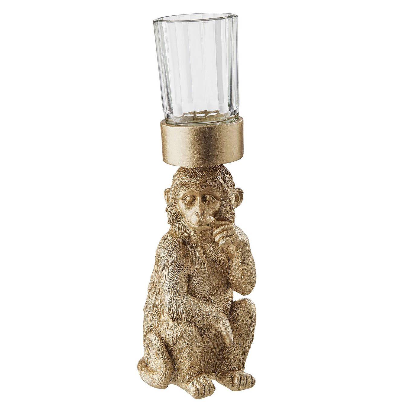 Butlers Golden Nature Deko Affe Mit Teelicht Teelichter Butler