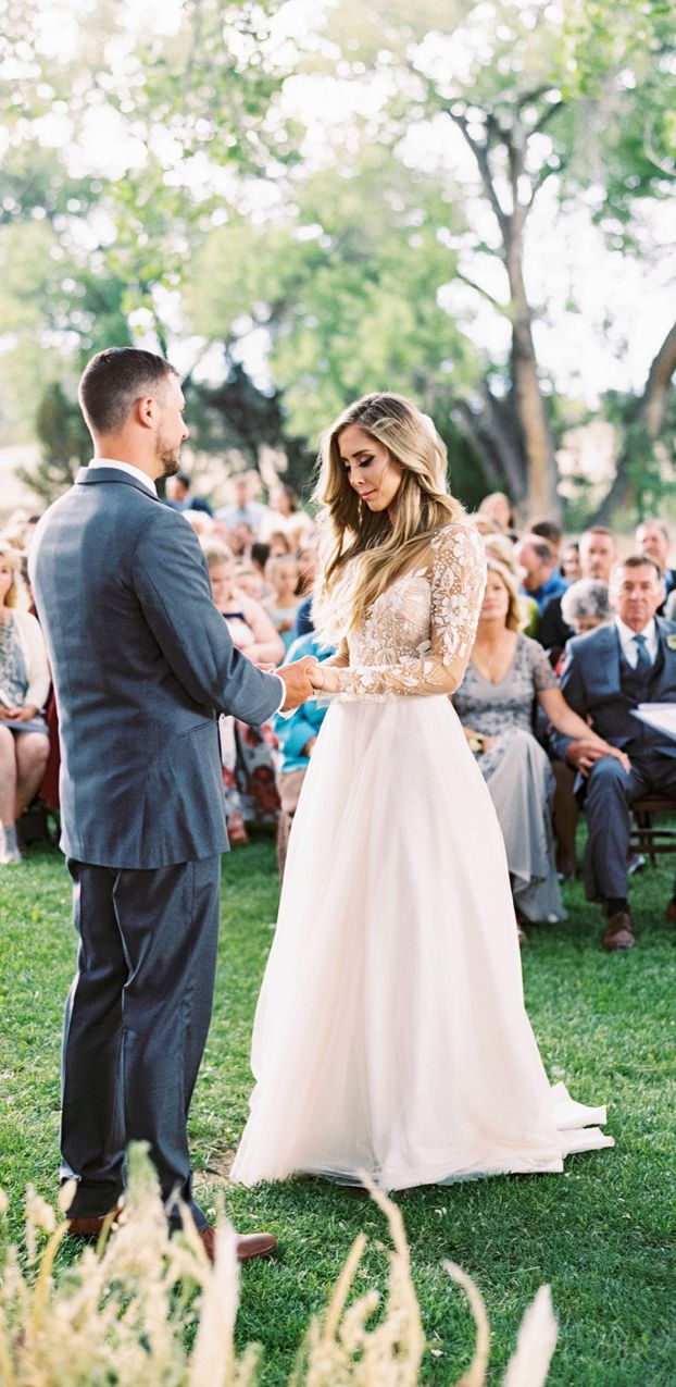 Long sleeve beaded see through wedding dresses backless country