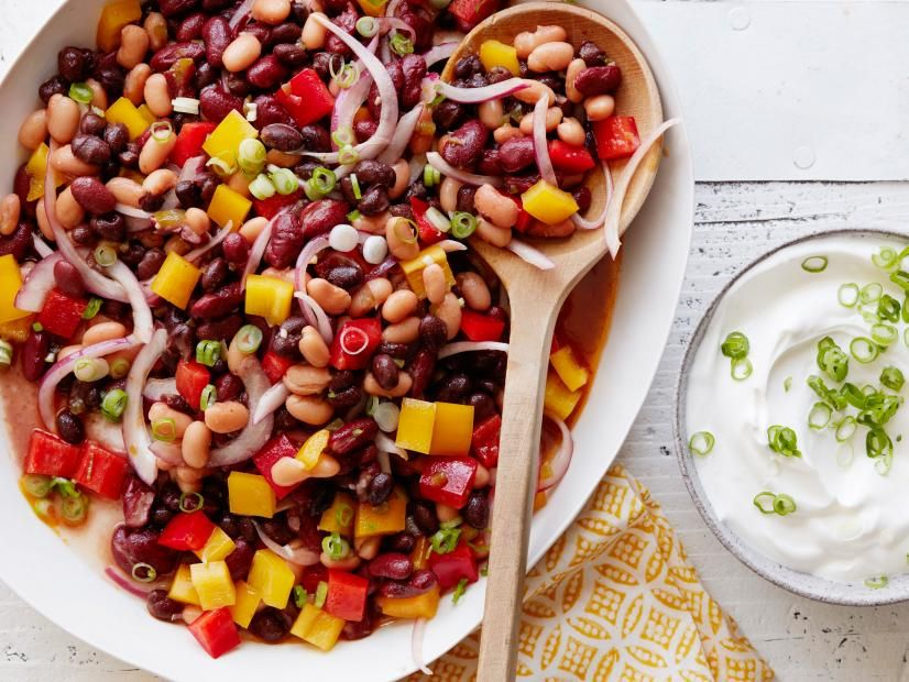 Spicy 3 Bean Chili Salad Recipe In 2020 Bean Recipes Chili Salad Food Network Recipes