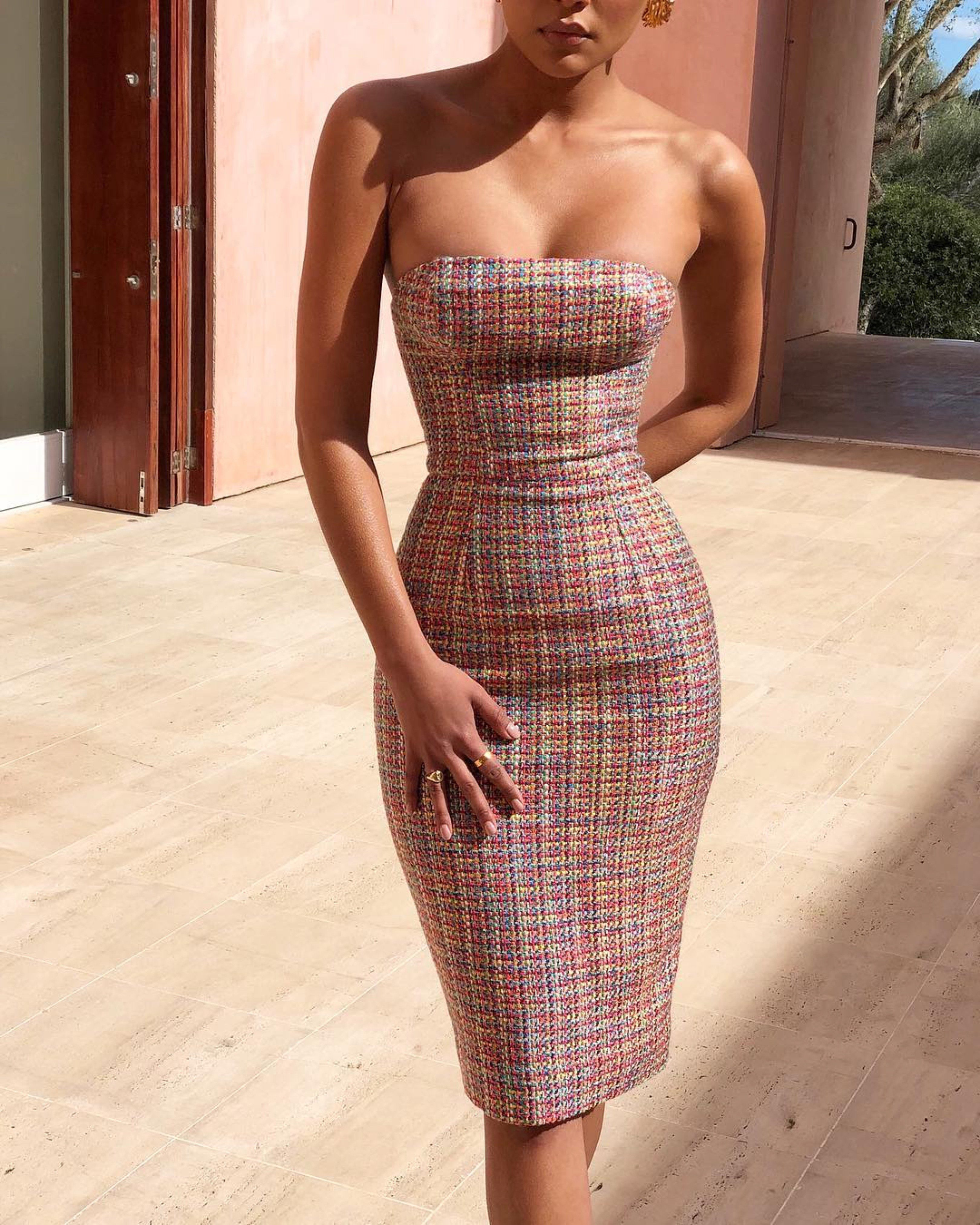 Strapless Midi Dress Eloise Beachside Bunny Strapless Bodycon Dress Strapless Midi Dress Fashion Outfits [ 4050 x 3240 Pixel ]
