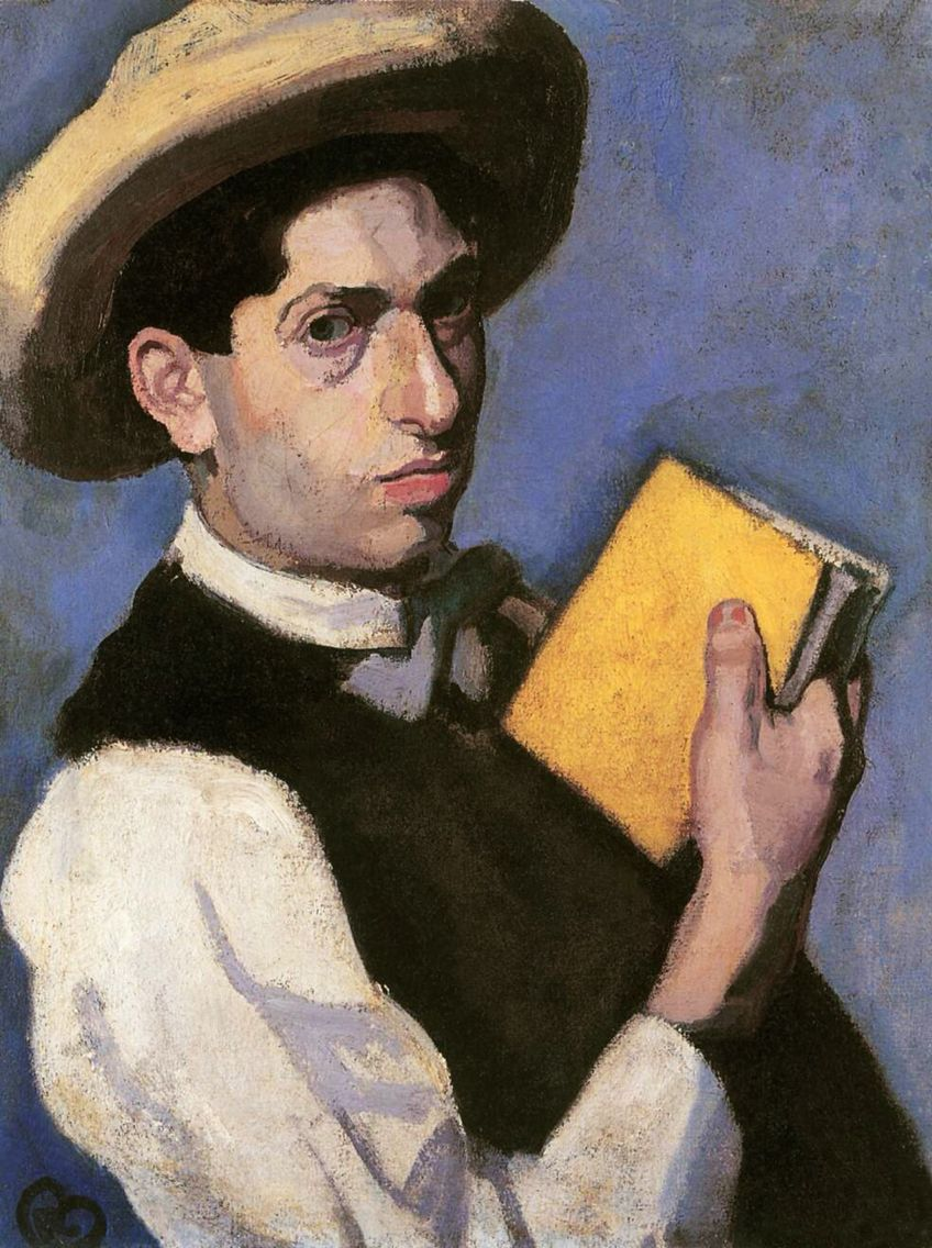 1887 - Birth of Róbert Berény, Hungarian painter, The Eight, 1887-1953. Self portrait with  Straw Hat.