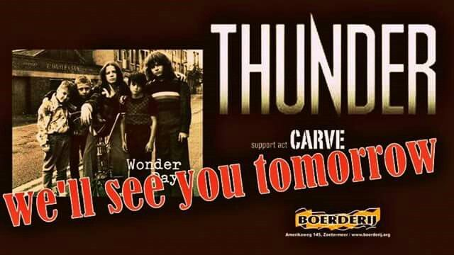 Thunder + support act Carve