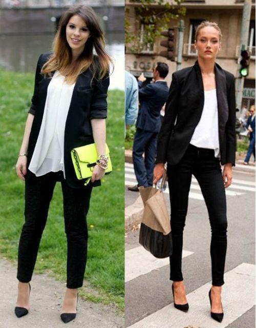 debe12431 roupa social feminina com blazer p&b | LOOK TRABALHO em 2019 ...
