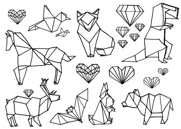 Pom Pom Origami Set Kichink Com Tatuaje De Origami Dibujos Como Dibujar Cosas
