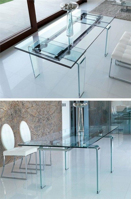 Extending Rectangular Dining Crystal Table Ghost By Italy Dream