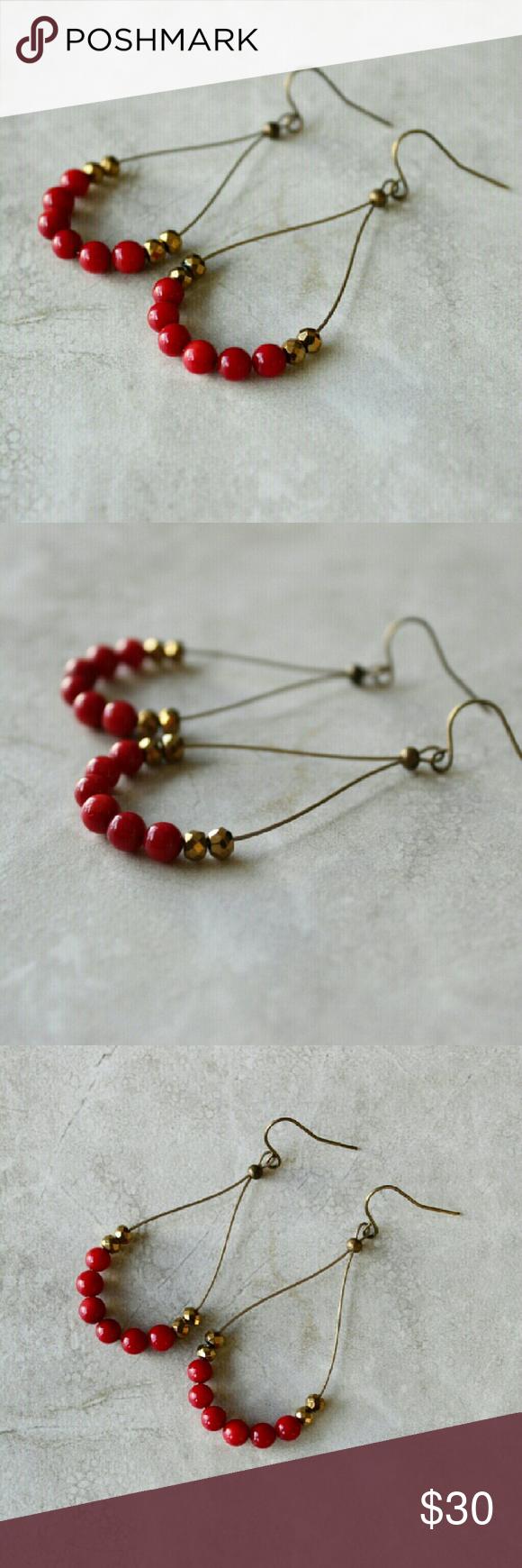 Red chandelier earrings red chandelier chandelier earrings and red chandelier earrings elegant red chandelier earrings genuine coral beads gold accent beads arubaitofo Images