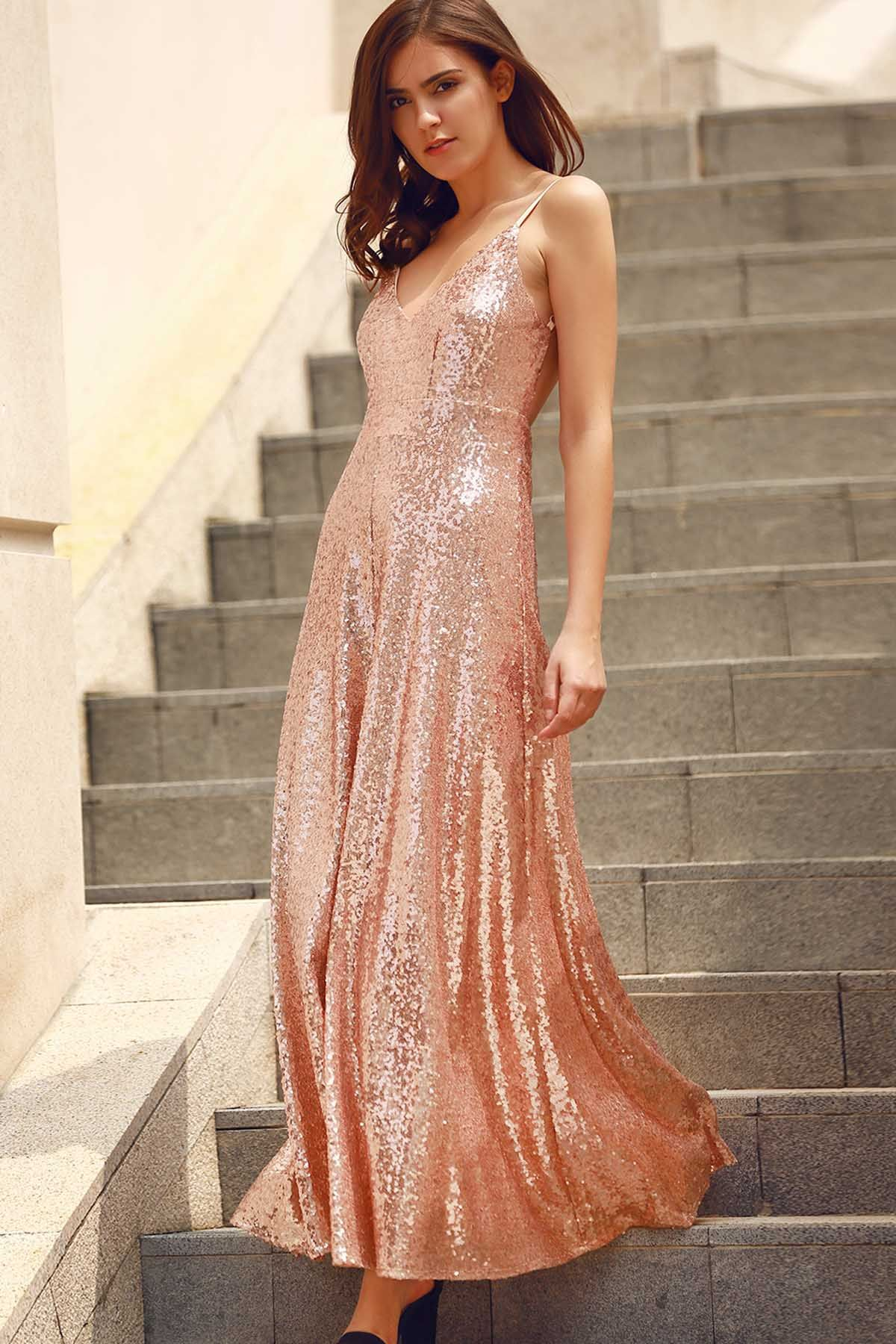 Backless Sequins Spaghetti Strap Maxi Dress