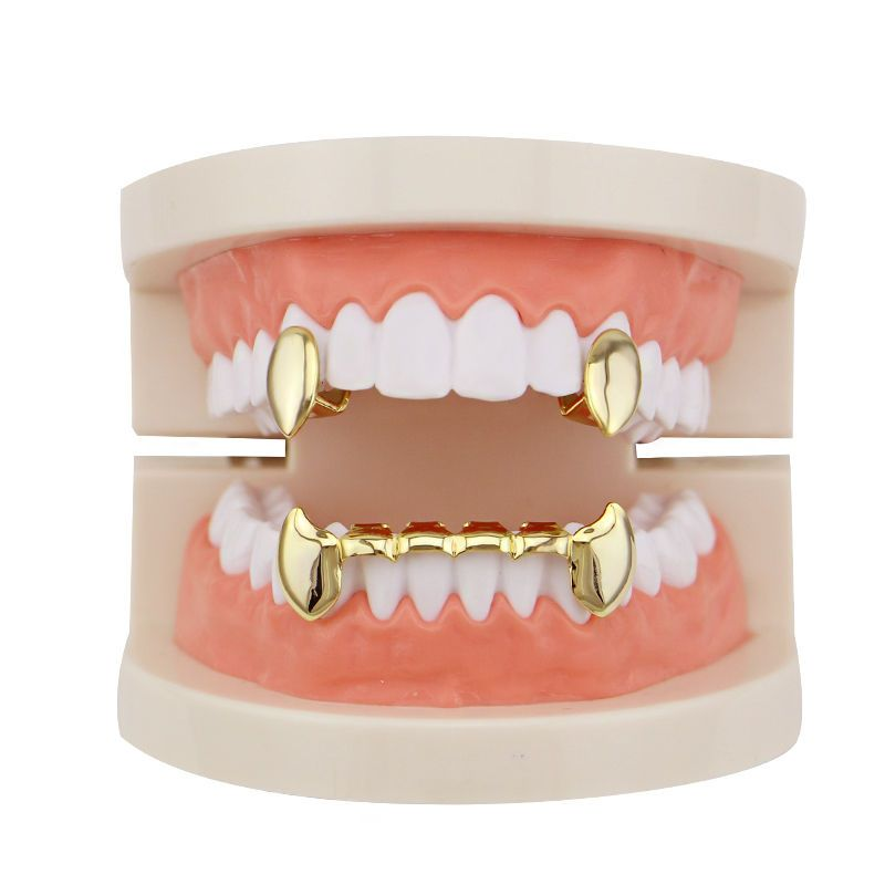 Details About 4 Color Vampire Grillz With 2pc Single Fangs
