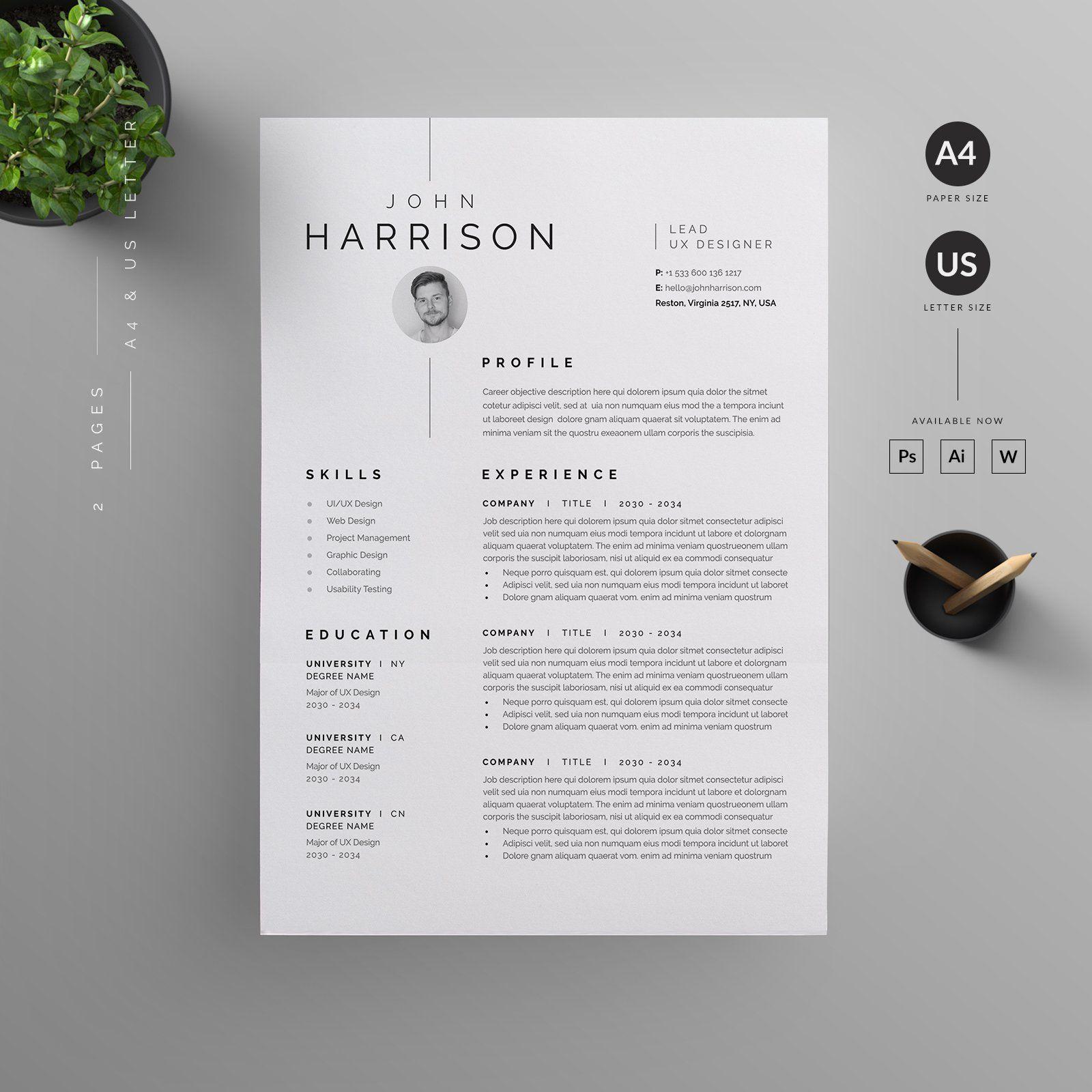 Resume/CV by Reuix Studio on creativemarket in 2020