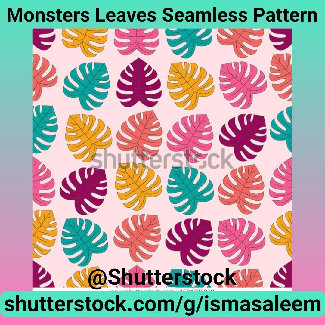 Monstera Leaves Seamless Pattern at Shutterstock by Isma Saleem @Shutterstock #Shutterstock #alloverprint #art #artlicensing #artsale #illustration #illustrationart #illustratioartist #licensingartist #pattern #patterndesigner #patternillustration #printandpattern #repeatpattern #shopnow #textiledesign #surfacepattern #shoppingonline #shopping #tropical #botanical