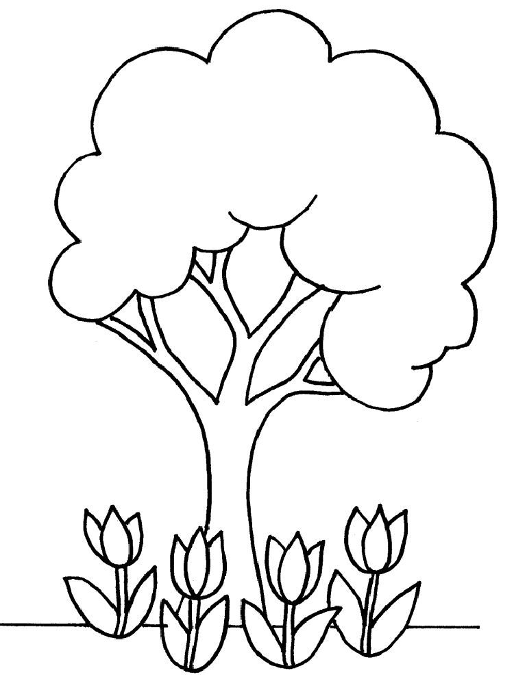 coloring page is a good pattern or template of tree and flowers - Leaves Coloring Page 2