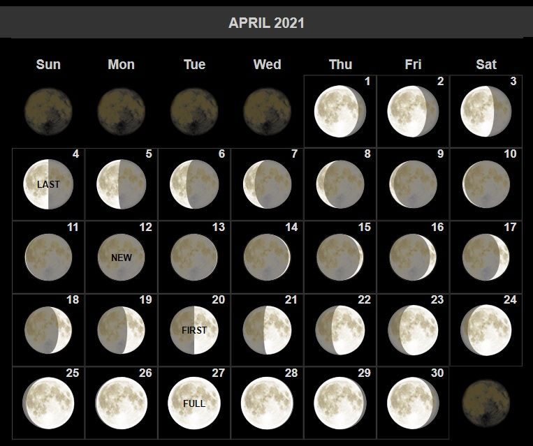 Free Download April 2021 Lunar Calendar. Save and print it on any