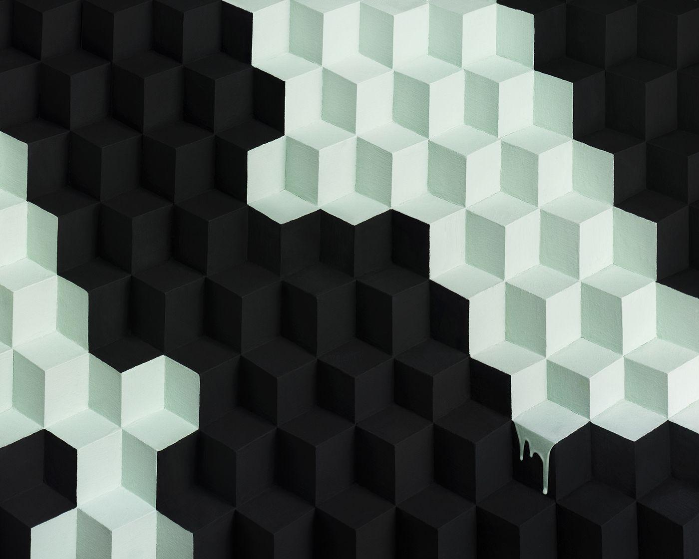 Benedict Morgan / Block Series- Mint Falling Down Black