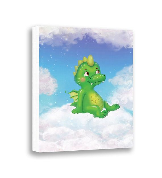Canvas Print - Baby Dragon - Green Dragon - Cute Animal - Baby Room Decor - Baby Shower Gifts - Nursery Wall Hanging - Home Decor - Children's Wall Art by Pinwheel Canvas Art on Etsy