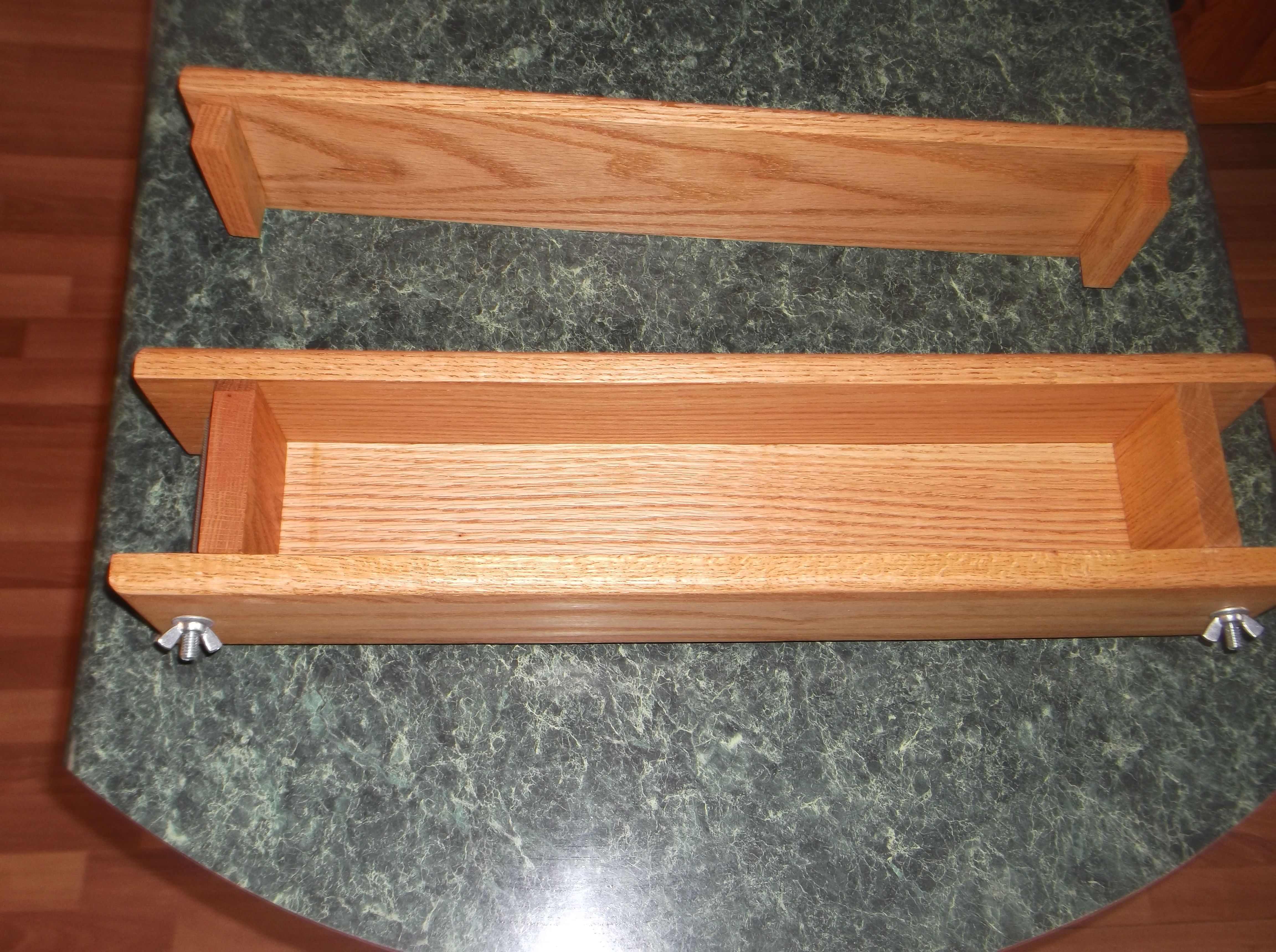 wooden soap loaf mold with fold down sides made by