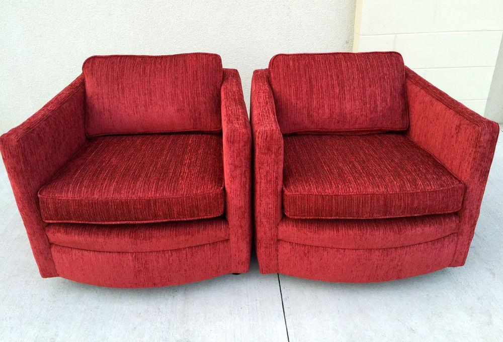 Mid-Century Modern Milo Baughman Style Cube Club Lounge Chairs #MidCenturyModern