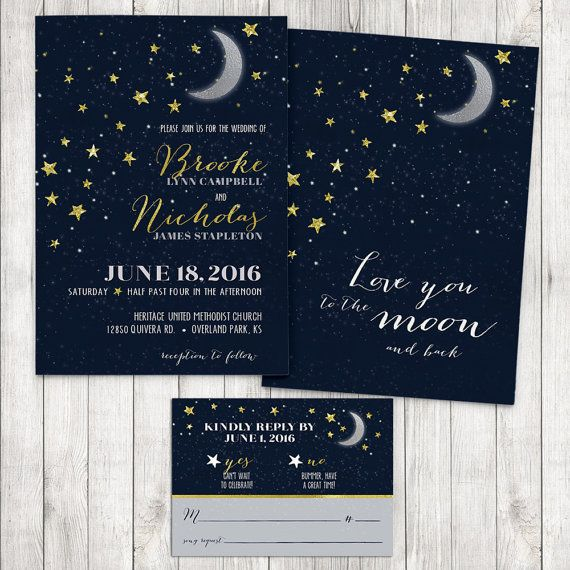 Love You To The Moon And Back Wedding Invitation Stars Rsvp Card Naby Blue Gold Suite Printable