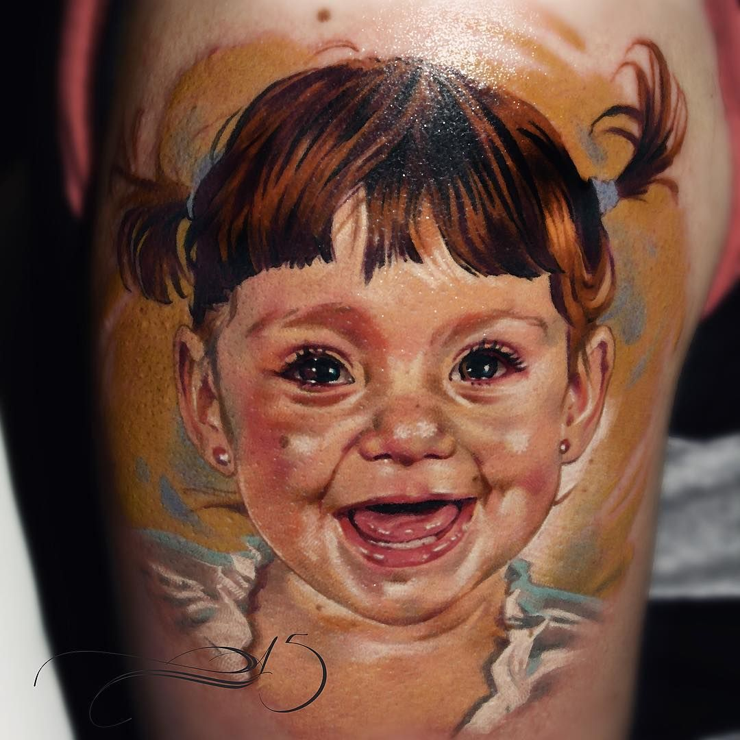 Baby portrait tattoo ideas - Happy Baby Girl Tattoo By Laura Juan
