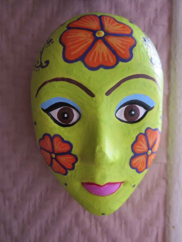 Plaster Mask Wall Decor, Orange Flowers, Plaster Wall Art ...