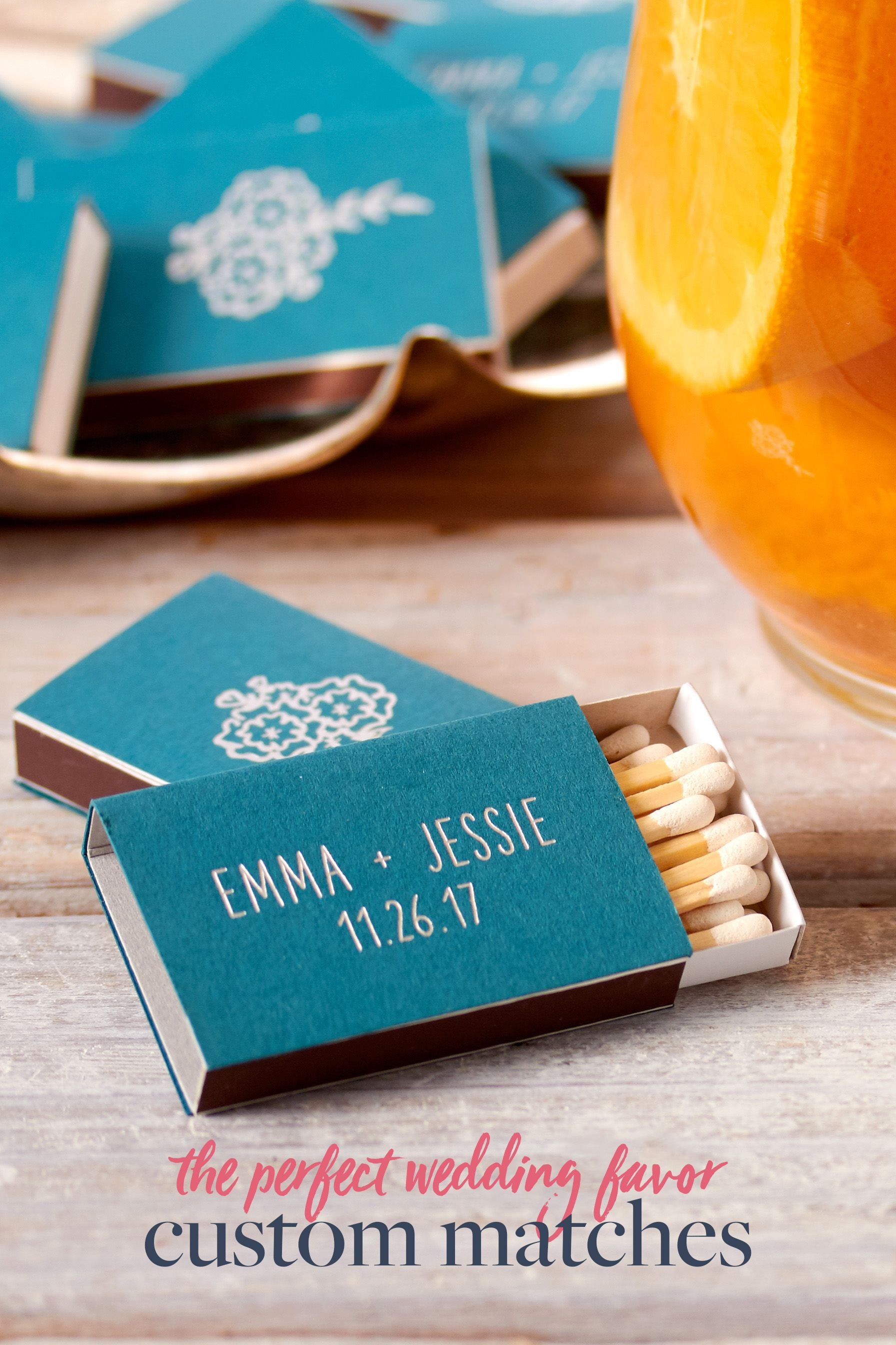 Custom matches for personalized wedding favors — teal