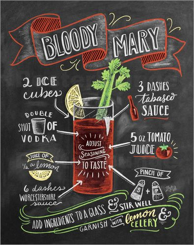 Premium-Poster Bloody Mary Rezept (Englisch) #beverages