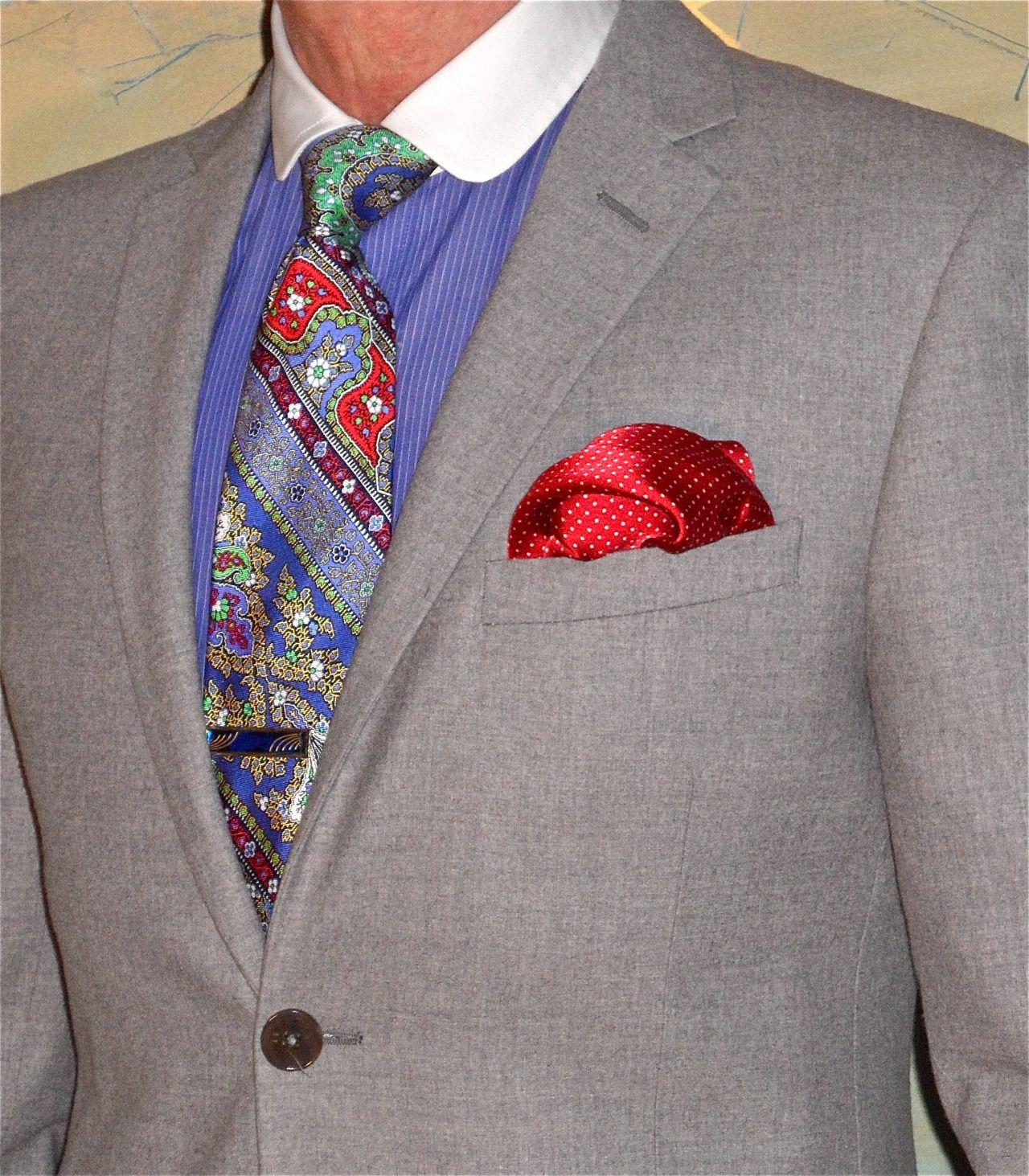 Flannel shirt under suit  Hilton grey flannel suit Mods of Norway shirt Ralph Lauren tie