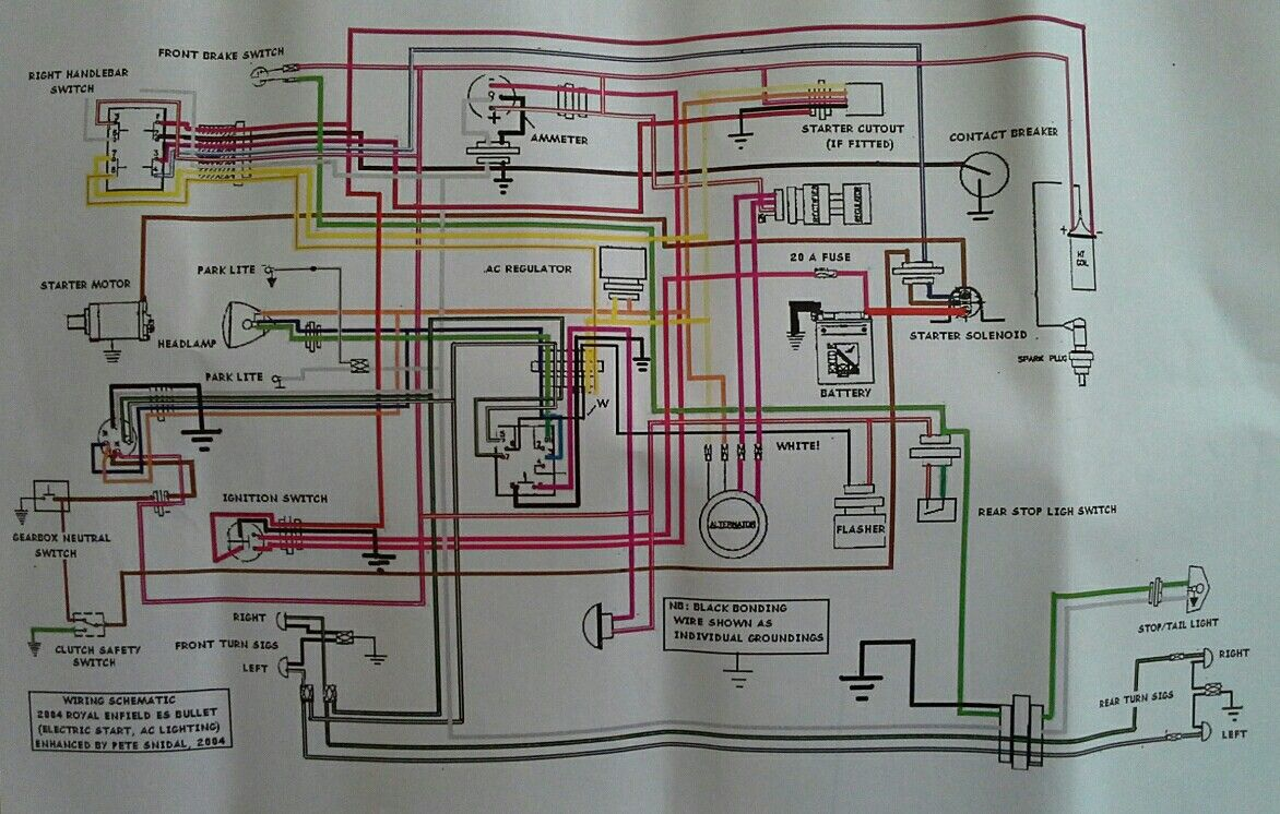 Wiring diagram for Royal Enfield Bullet Electric Start.