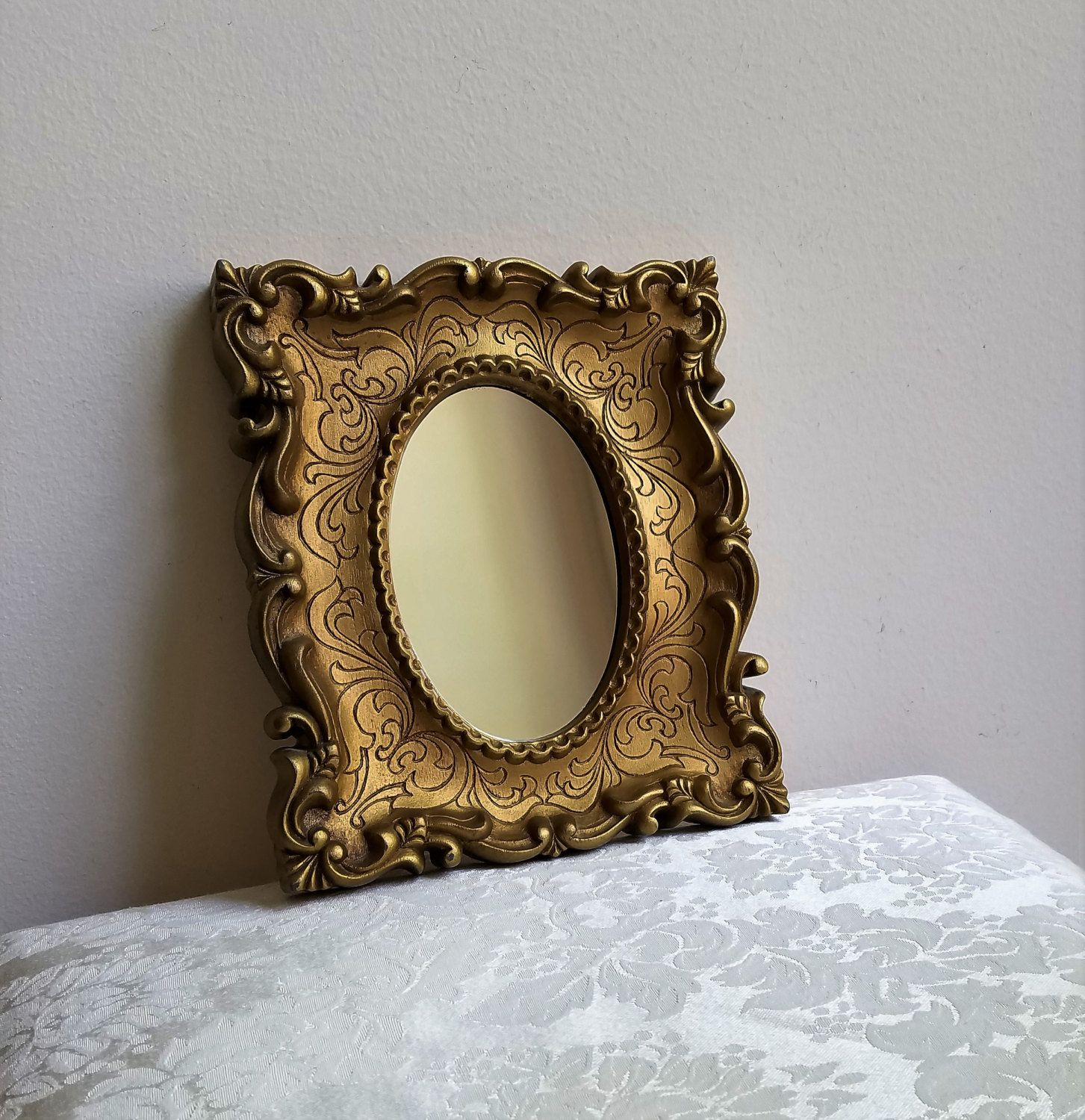Vintage Ornate Gold Wall Mirror, Faux Carved Wood With Fleur de Lis ...