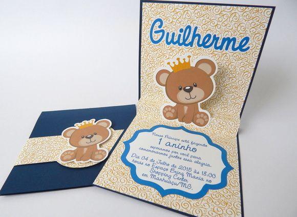Convite Ursinho Príncipe 3d Convites Para Meninos Baby Shower