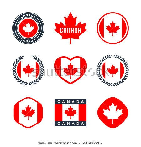Canada canadian flag red maple leaf collection of vector icons labels