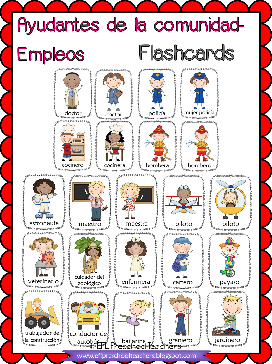 Free Spanish Community Helpers Flashcards In