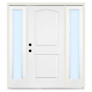 Steves Sons Premium 2 Panel Camber Top Primed White Steel Prehung Front Door With 12 In Clear Sidelites Discontinued 1021 Dslcri The Home Depot Entry Doors With Glass Steel Entry Doors Front Door
